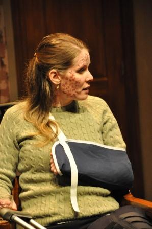 Sheena Foster as Sarah recovering from the accident.