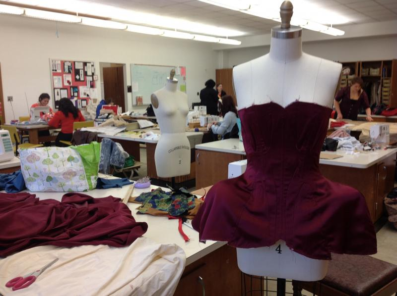 Fashion design students working around the clock at the WMU sewing lab.