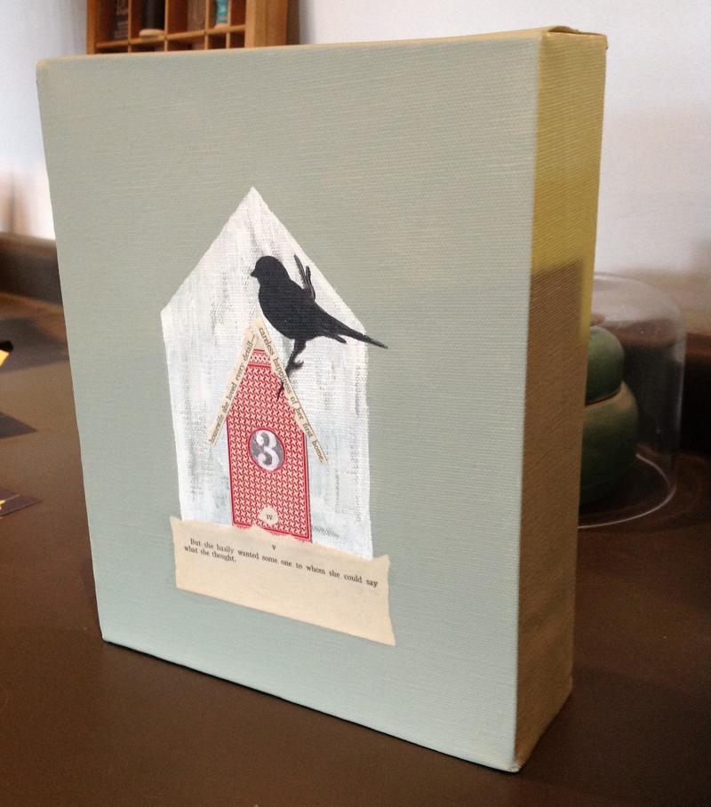 """The house in this work is made of a playing card. The text at the bottom reads: """"But she hazily wanted some one to whom she could say what she thought."""""""