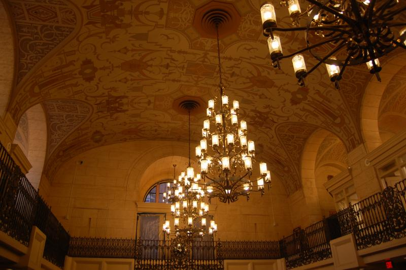 The ceiling of the bank building
