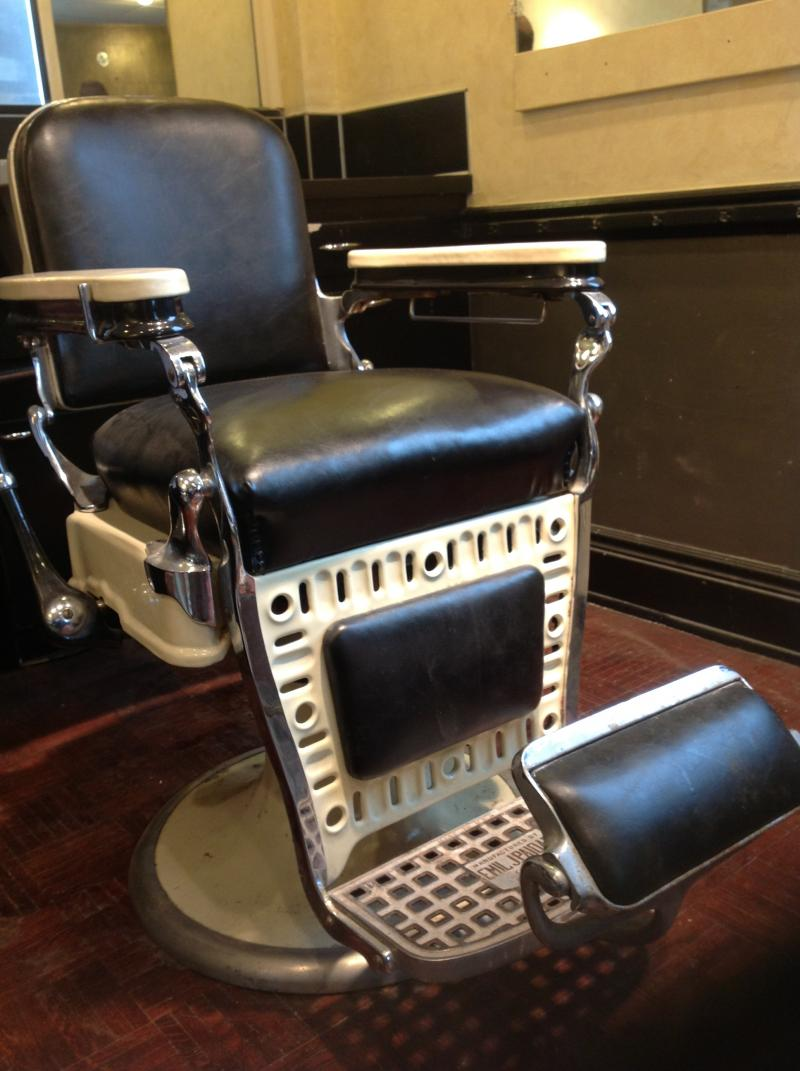 A chair in the old barbershop on the upper floor
