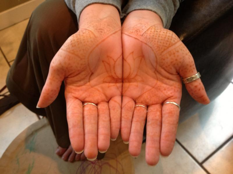 Cassie Jaffe shows some faded henna on her hands