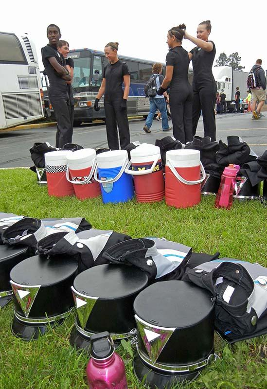 The drum and bugle corps prepares for performance