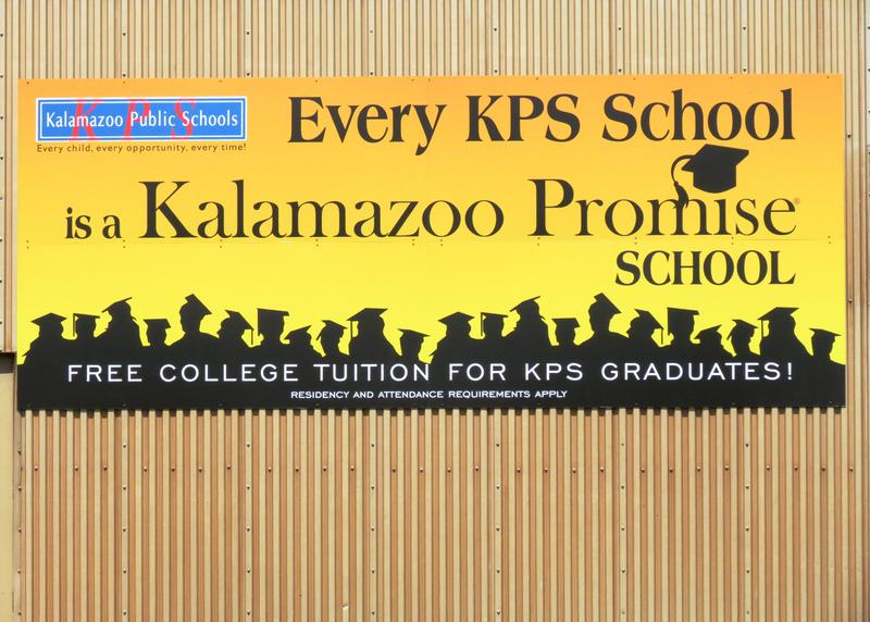 Kalamazoo Promise sign - file photo from WMUK