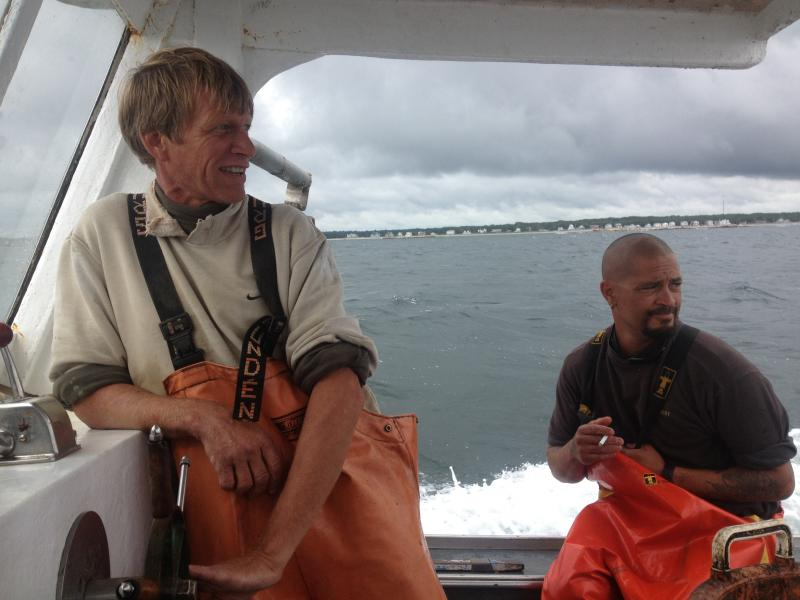 Lobstermen Chip Zeiner and Tim Yonuschot aboard the 'Helen D'