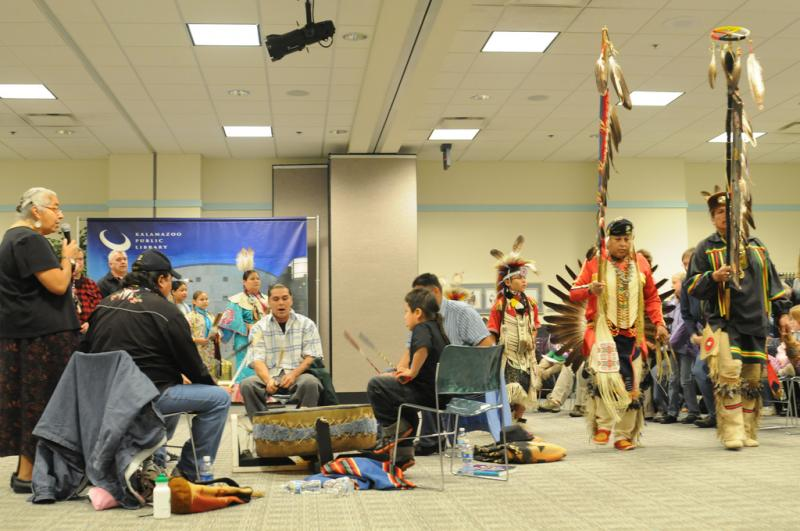 Native American group Southern Straight's performance at the Kalamazoo Public Library in 2009. Southern Straight is an earlier incarnation of Sons of Three Fires.