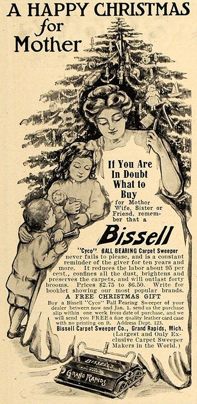 A 1909 ad for Bissell Sweepers