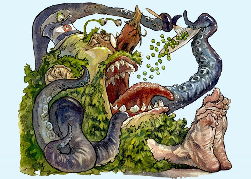 From 'The Monster Who Ate My Peas' by Danny Schnitzlein. Illustration by Matt Faulkner.