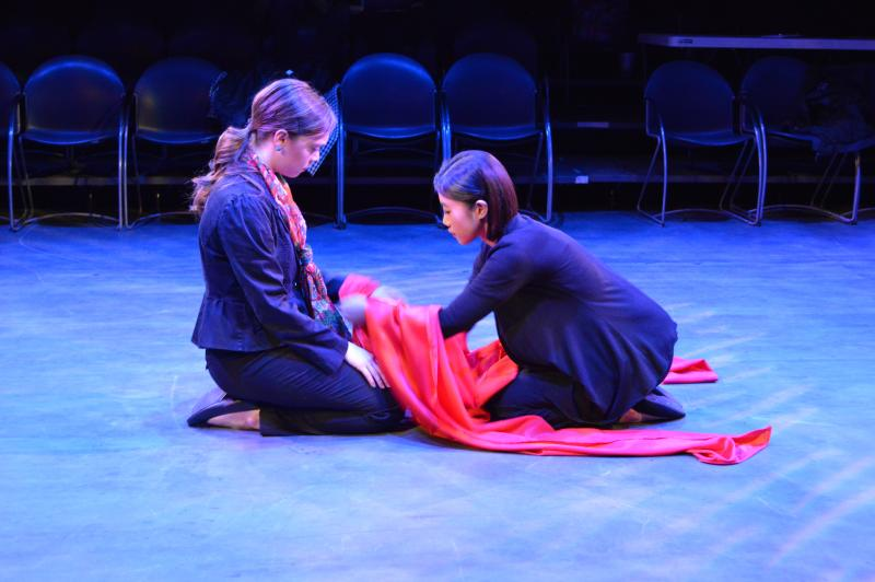 Sarah Taylor and Shuyuan Wang in dress rehearsals for the play 'Seven.'