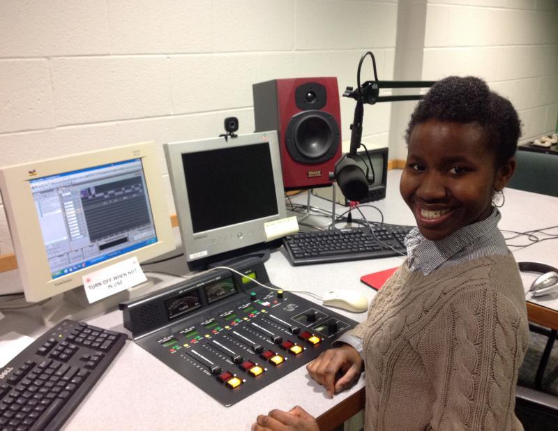 WMUK Producer Erin Williams in the news studio