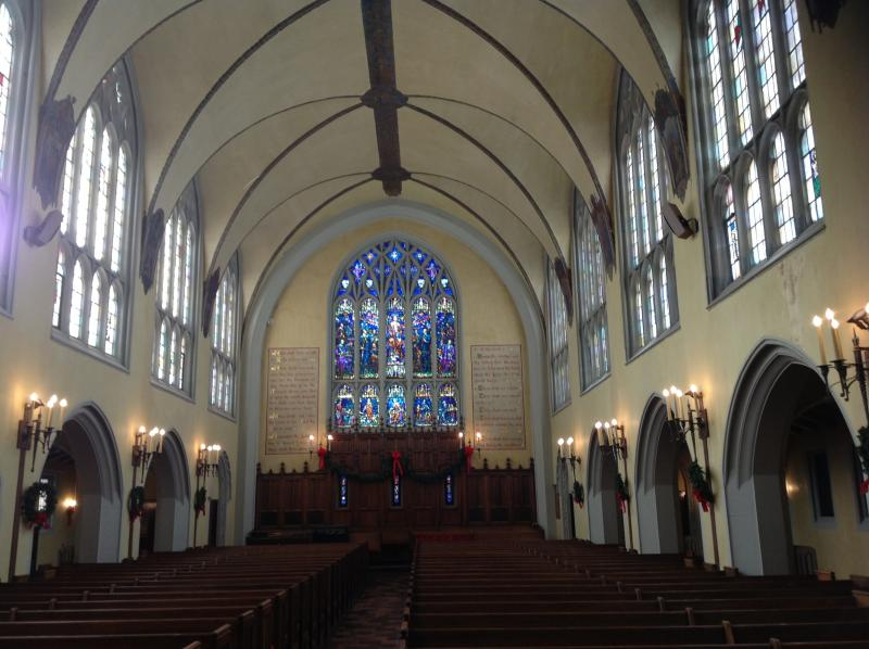 First Congregational Church and its groin vaulted ceiling
