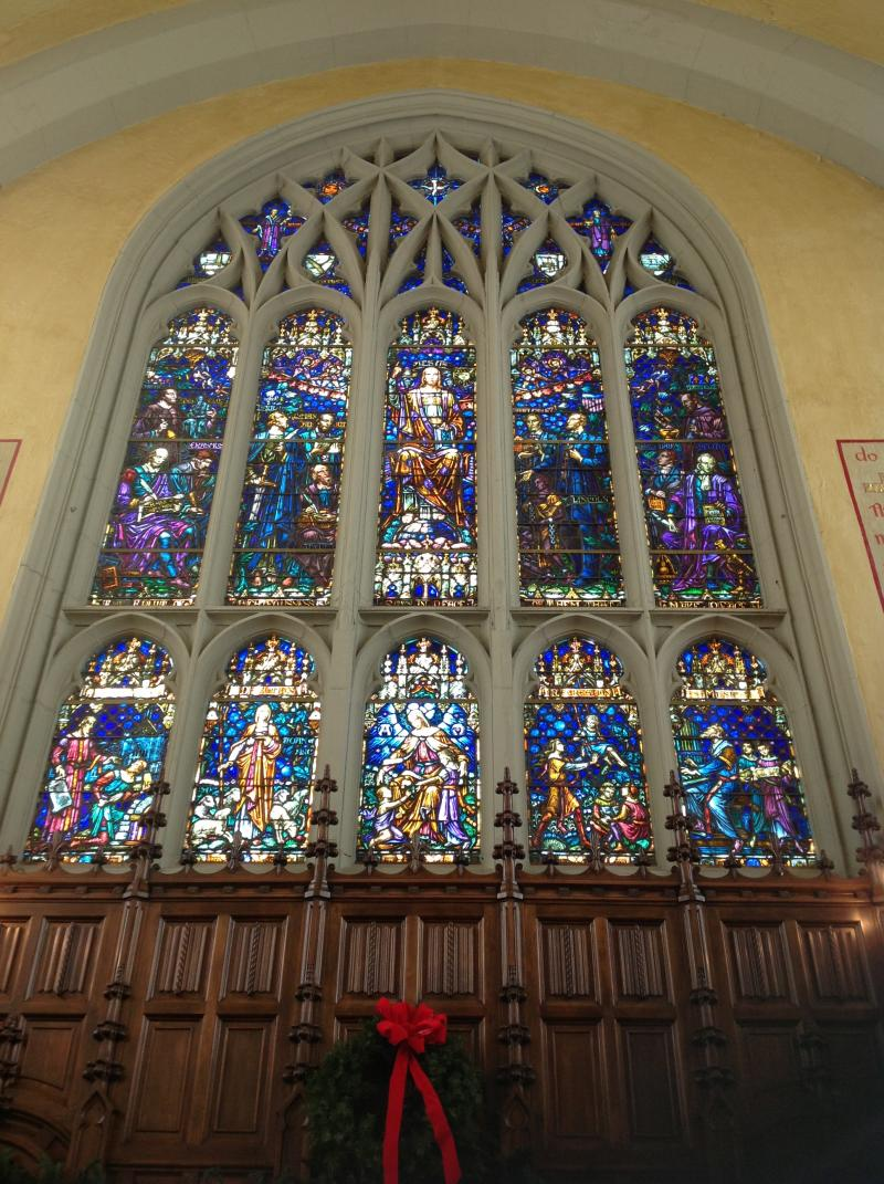A stained glass window at First Congregational