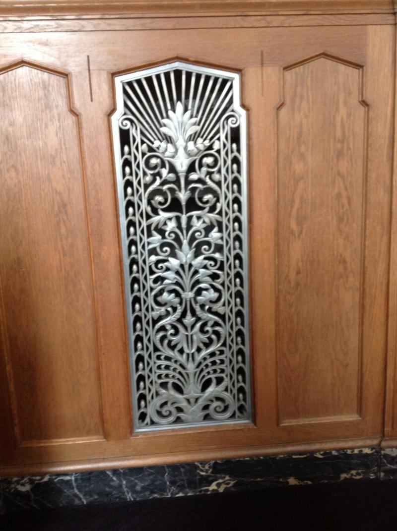This is a decorative vent. Stroh says this is very characteristic of the art deco style--functional and beautiful.