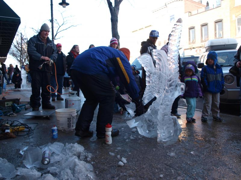 An ice carver sets to work at a past Ice Breaker Festival in South Haven. This is the 21st annual.