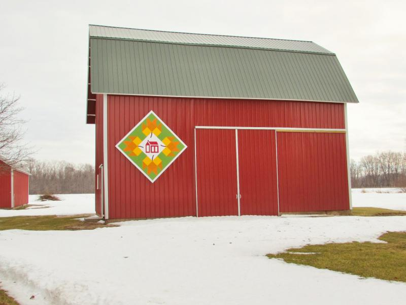 This barn quilt is titled 'Back To School,' and is named after the one-room schoolhouse that used to sit nearby.
