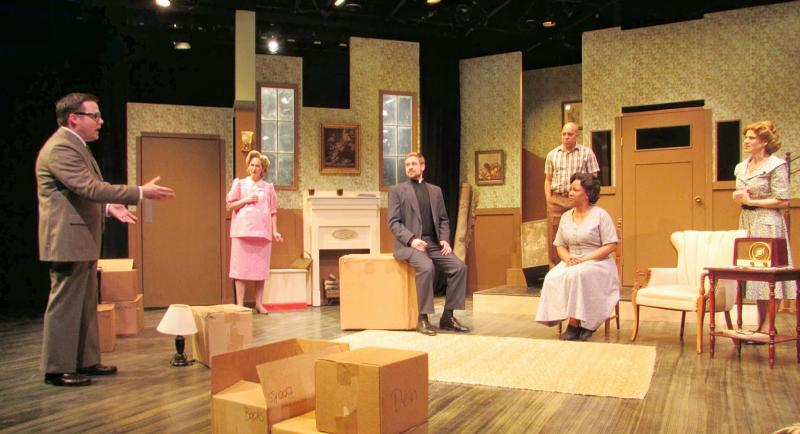 The cast on set in the Farmers Alley Theatre production of Clybourne Park. The first act is set in 1959.