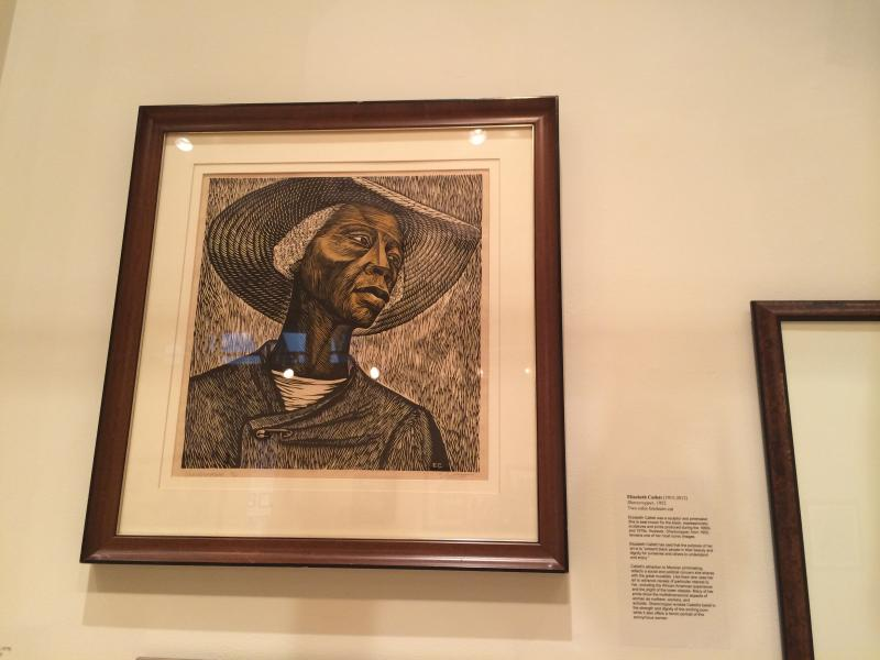 """Sharecropper."" Two color linoleum cut by Elizabeth Catlett. Two color linoleum cut"