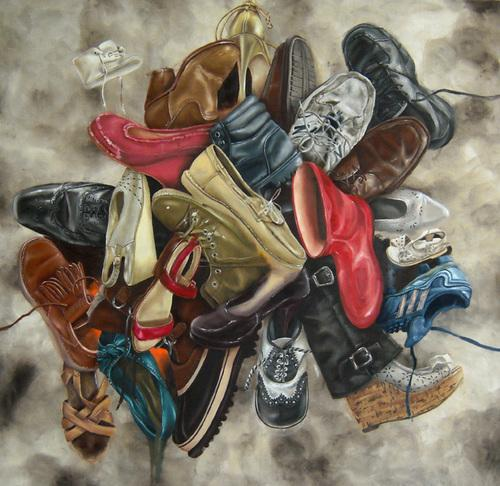 "Nelson takes objects such as shoes, bugs, and pig parts and fashions them in to ""pile art."""