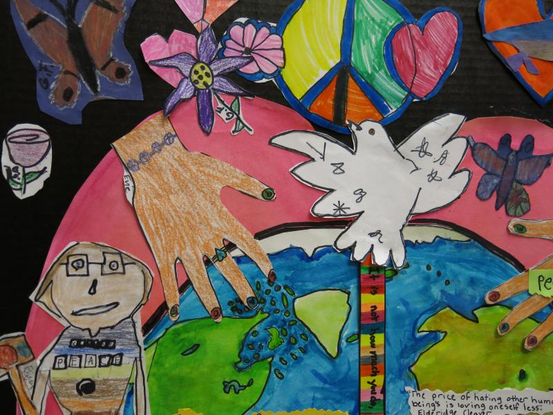 A detail from an illustrated panel by Winchell Elementary students. The panel is one of many that will be on display at Peace Pizzazz.