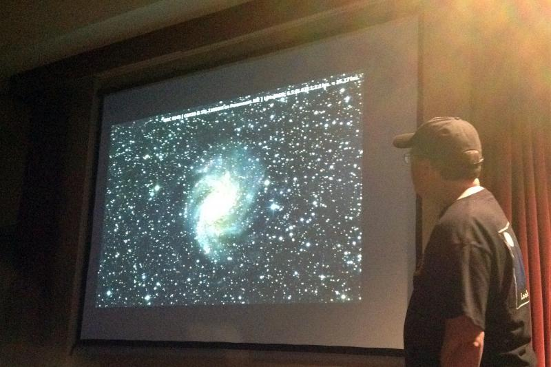 Kalamazoo Astronomical Society President Richard Bell shows some of the photos taken from the Arizona Sky Village during a presentation in April.