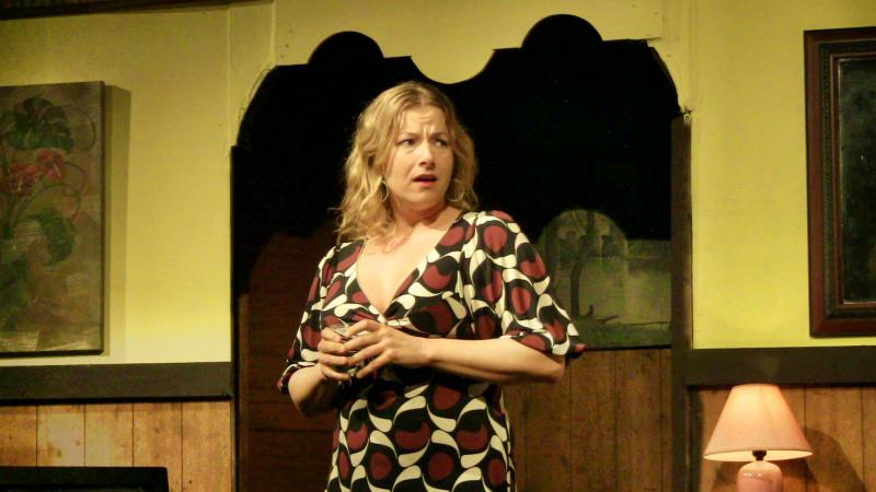 "Marin Heinritz as Elaine in The New Vic Theatre's producition of the Neil Simon play ""The Last of the Red Hot Lovers."""