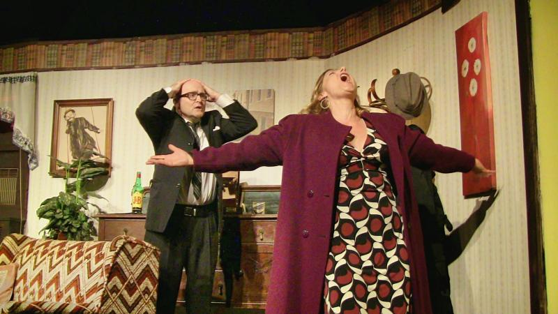 "Timothy J. Smith as Barney and Marin Heinritz as Elaine in The New Vic Theatre's producition of the Neil Simon play ""The Last of the Red Hot Lovers."""