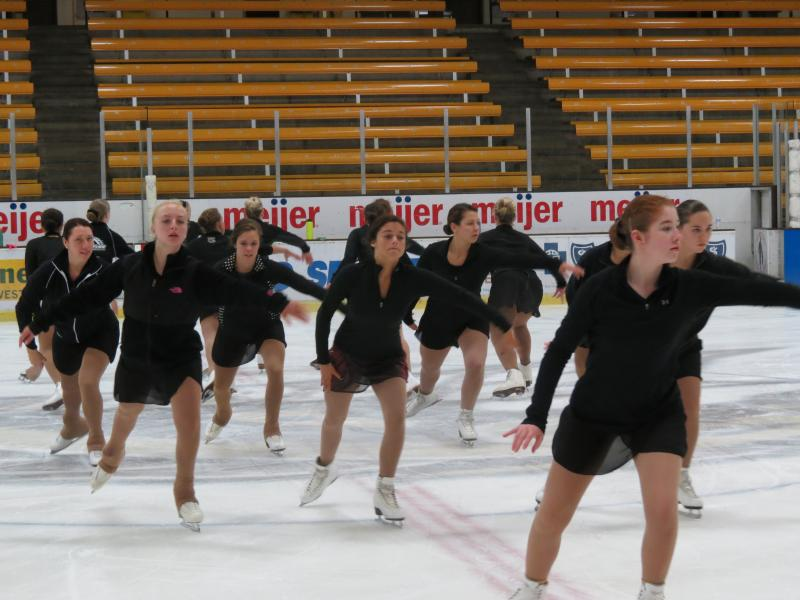 WMU synchronized skaters during summer training camps at Lawson Ice Arena