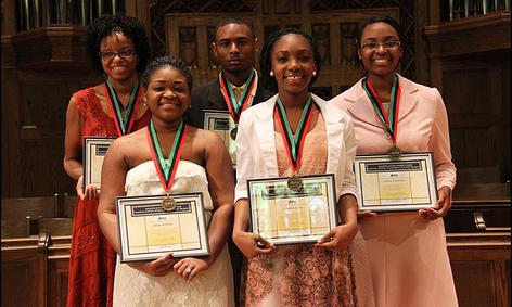 Front Row: Imara Bowers-Vocal Contemporary; Jasmine Small-Painting Second Row: Sariah Metcalfe-Poetry; Ray Reason-Short Story; Jamila McKenzie-Biology