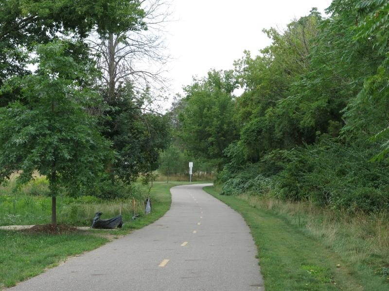 The Kalamazoo River Valley Trail passes by the park.
