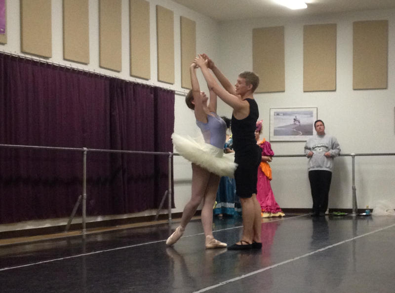 Claire Amat and Michael Artrip during rehearsals for Cinderella