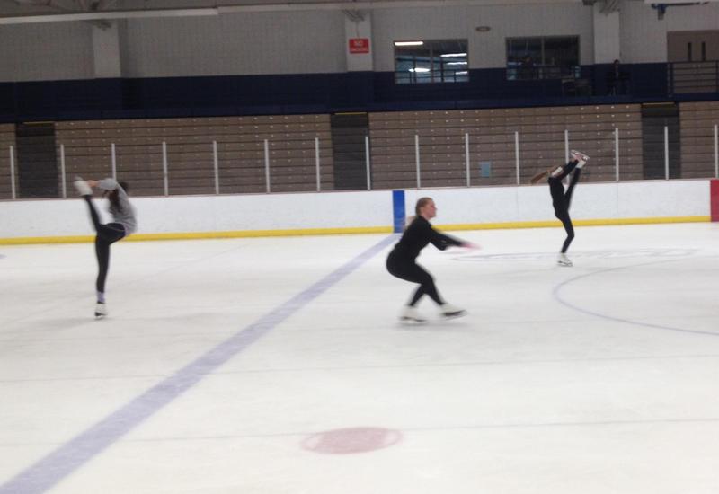 Students from the Greater Kalamazoo Skating Association rehearsing at Wings Stadium