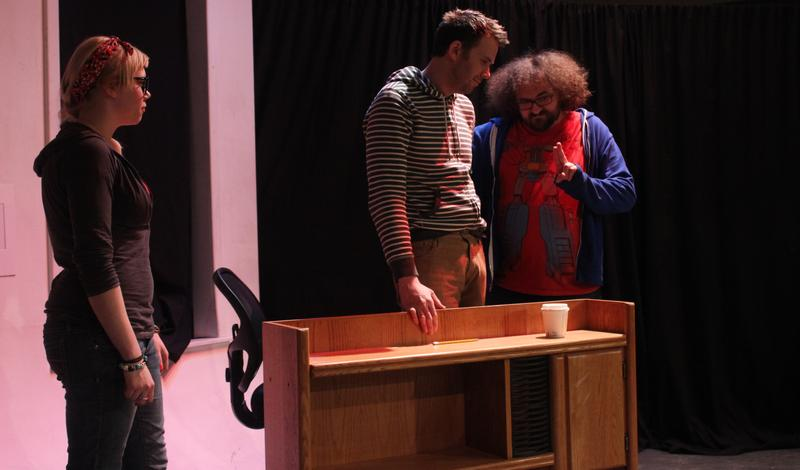 A scene from 'Jack Pork' by Donna Hoke. From left to right: Katrina Beedle, Dan Lafferty, and Ben Hooper