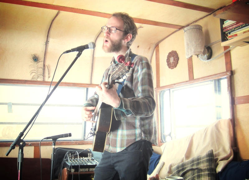 Tyler Bradley in the Jayco trailer where he recorded Earth Wave Sway