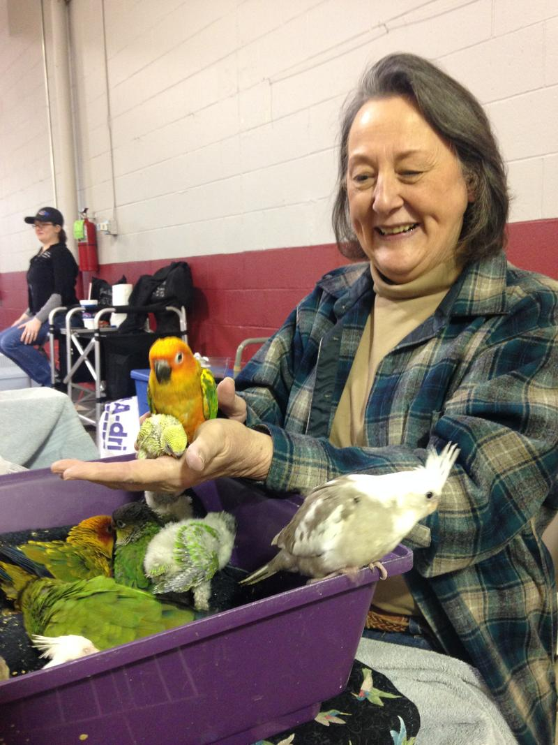Lynne Bennett and her birds
