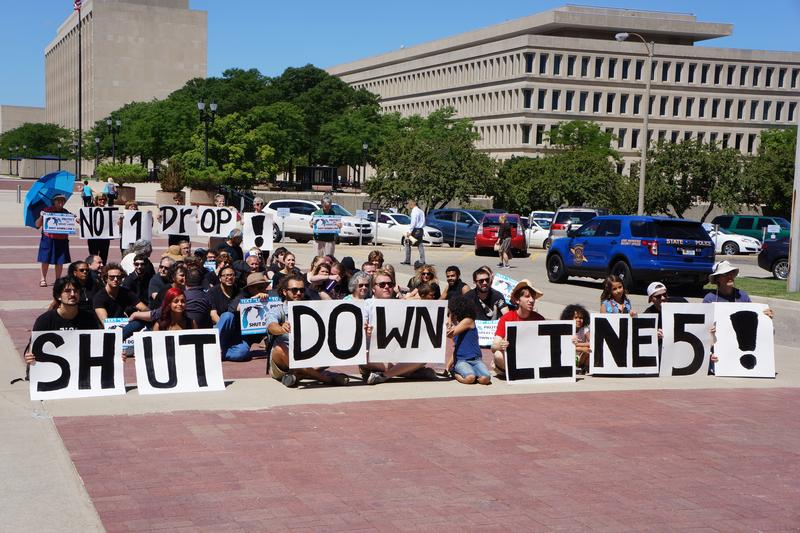 Protesters call for the shutdown of Line Five - file photo