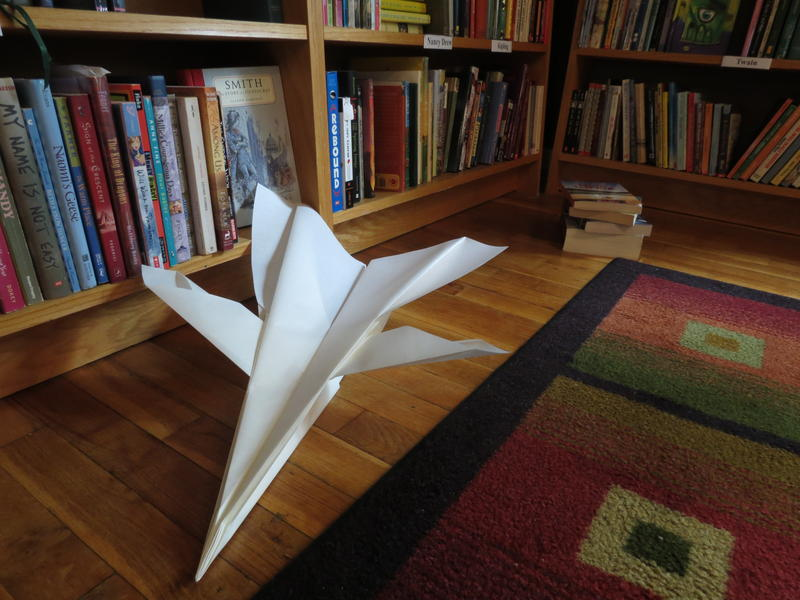 A fighter jet like paper plane at the Kazoo Books annex on Parkview Avenue in Kalamazoo