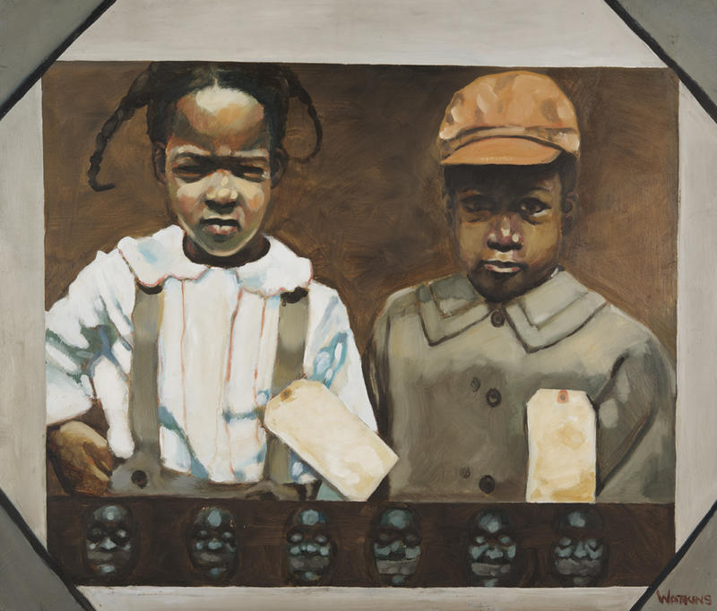 James Marcellus Watkins, Victims, ca. 1986, oil on board. Collection of the Kalamazoo Institute of Arts;  Director's Choice Purchase Award, 1991 Kalamazoo Area Artist Show.