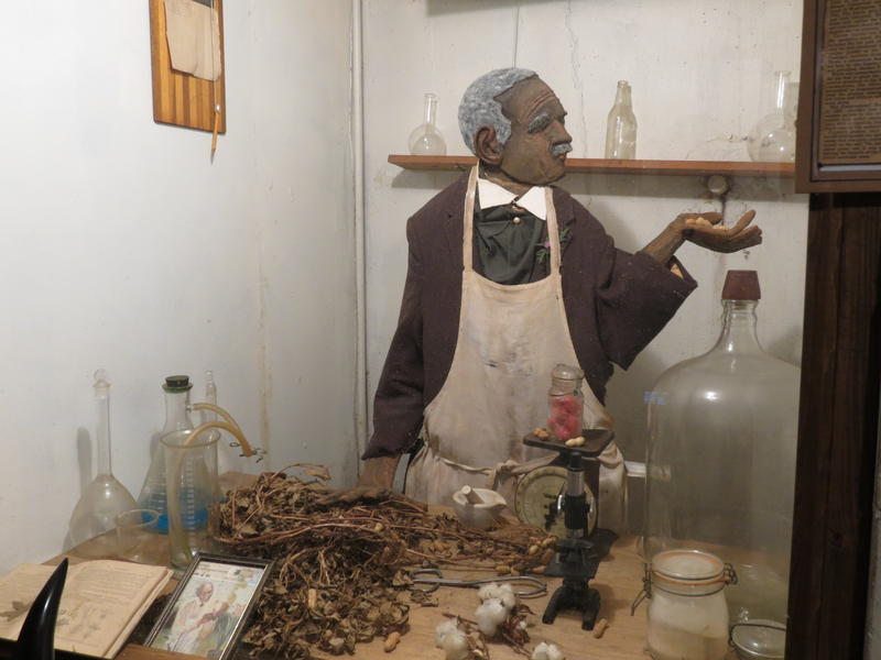 One of Murphy Darden's glass displays. This one shows George Washington Carver, the inventor of peanut butter and much more.
