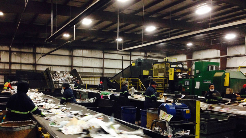 Single-stream recycling in our area gets sorted here at the Elkhart, Indiana Material Recovery Facility