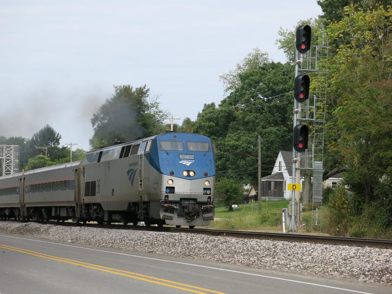 An Amtrak train passes through Comstock Township