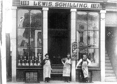 Lewis Schilling (far left) owned this butcher shop on Portage Street near Michigan Avenue in Kalamazoo. He was murdered there in 1893.