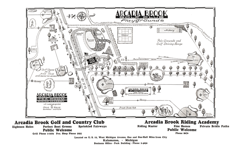 An undated map of the Arcadia Brook Golf and Country Club. That land eventually became part of WMU's campus.