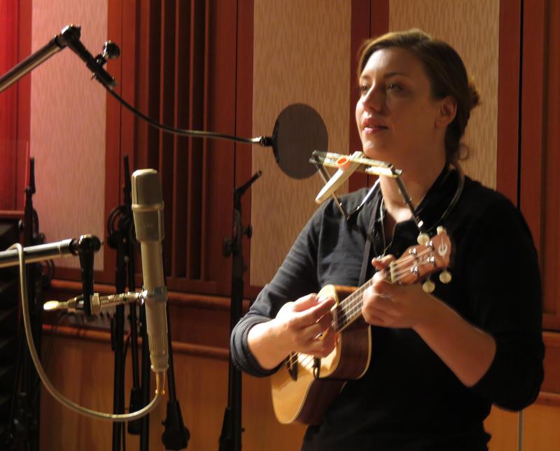 Megan Dooley in WMUK's Takeda studio