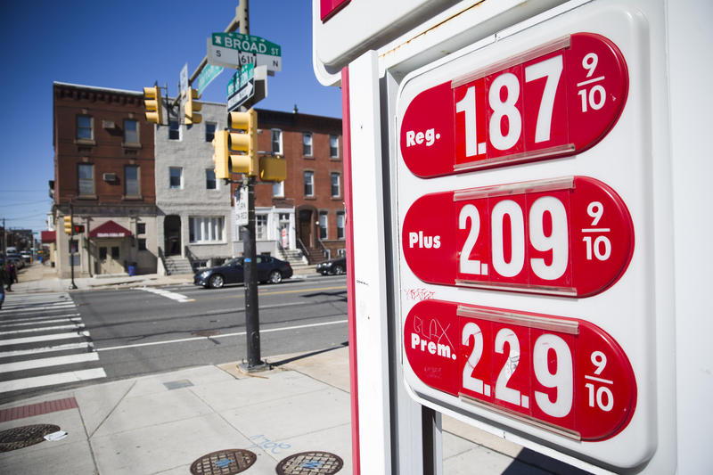 Gas prices posted at a filling station in Philidelphia on March 2, 2016
