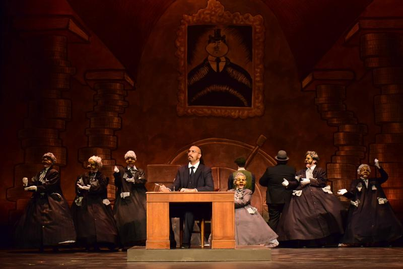 Rob Bradford (middle) plays George Banks in the Kalamazoo Civic Theatre's production of Mary Poppins