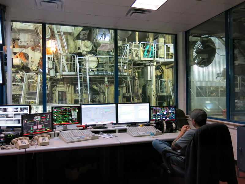 The paper machine as seen out the windows of the control room.