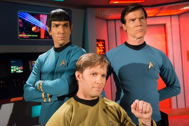 Brandon Stacy (Spock), Brian Gross (Kirk) and Jeff Bond (McCoy) on the bridge of the Enterprise.