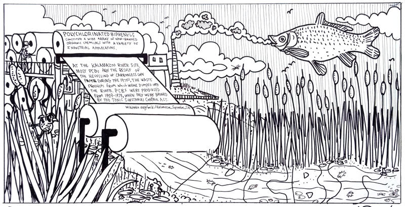 One of the panels depicting paper mill pollution in Kalamazoo