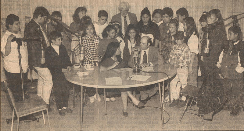 A photo from the Kalamazoo Gazette on April 18, 1994. Kids from Battle Creek Public Schools were invited to watch a taping of Alma Latina.