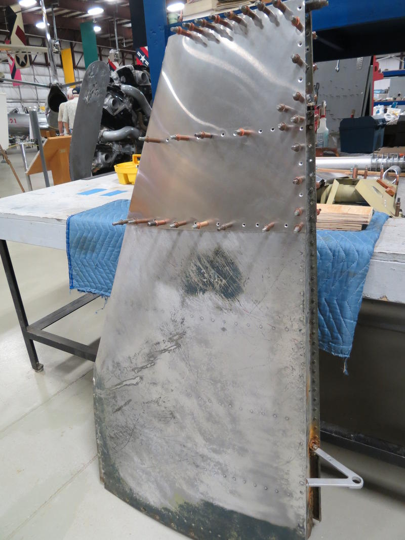 The top third of this tail fin was destroyed, says Ward. Volunteer Boyd Naylor rebuilt the top of the fin from scratch.